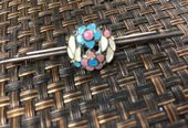 Bernard Instone Silver Bar Brooch with Floral Enamel  Decoration - 1930s Pin